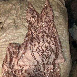 Pink Glittery Long Dress